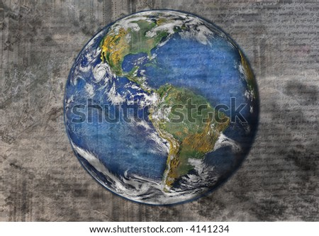 planet earth - grunge style - stock photo