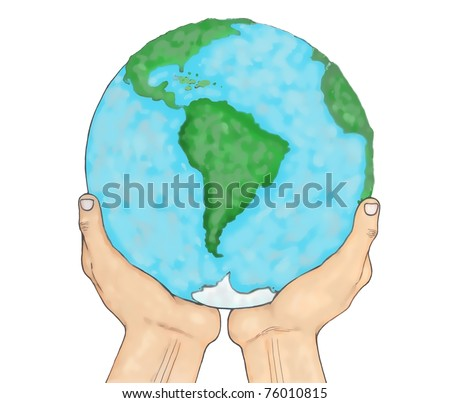 Planet Earth held in the sky by human hands. digital painting