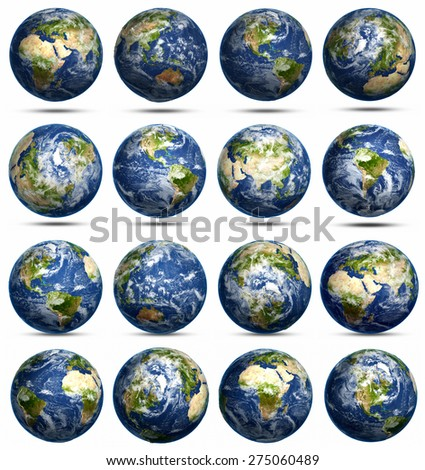 Planet Earth icons set. Elements of this image furnished by NASA - stock photo