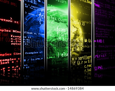 Planet earth in a digital program code background divided in five colorful areas - stock photo