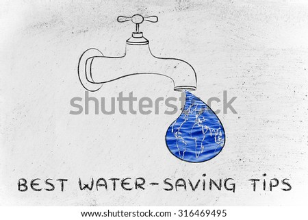planet earth in a droplet from the tap (with ocean fill), illustration about water-saving tips - stock photo