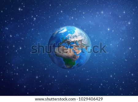 Planet Earth in deep space, focused on Europe, Africa and Asia. 3D illustration - Elements of this image furnished by NASA.
