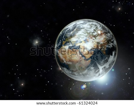 Planet earth in galaxy with copy space - stock photo