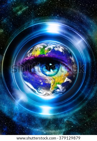 Planet Earth in light circle and woman eye, Cosmic Space background. Computer collage. Earth concept. Planet earth in light rays. Elements of this image furnished by NASA - stock photo