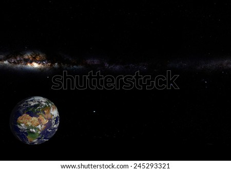 Planet Earth in Space: computer generated image of planet earth in space. Elements of this image furnished by NASA. - stock photo