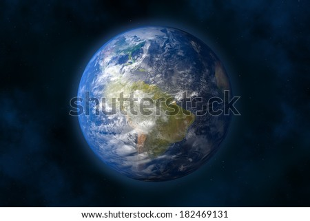 Planet earth in space. Stars and Nebula (3d image).  - stock photo