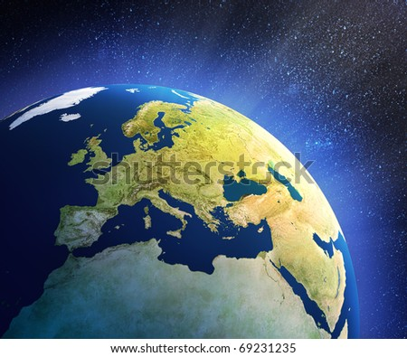 Planet earth in space with focus on European countries (3d source maps- http://visibleearth.nasa.gov/ )