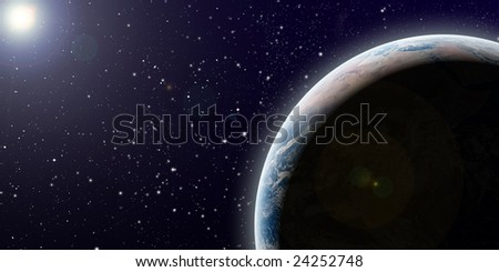 planet earth in space with sun in background - stock photo