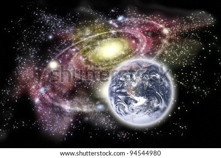 Planet earth in the foreground and galaxy in the background. Earth image courtesy: http://www.nasa.gov - stock photo