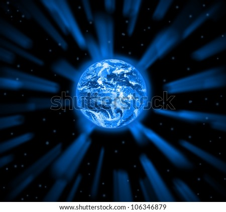 Planet earth in the foreground. Elements of this image furnished by NASA. - stock photo