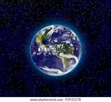 Planet Earth in the space. Earth globe image provided by NASA. - stock photo