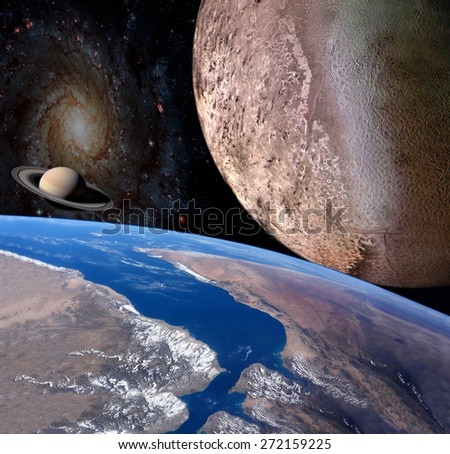 Planet earth in the space . Elements of this image furnished by NASA. - stock photo
