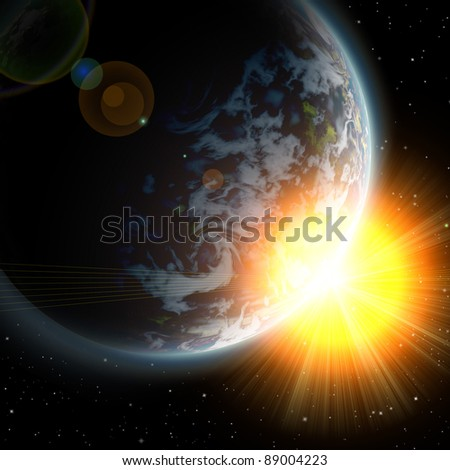 planet earth in the starry background,abstract