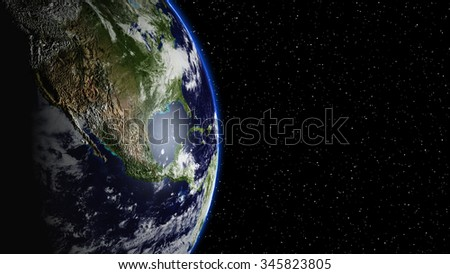 Planet Earth  in universe or space, Earth and galaxy in a nebula clouds (Elements of this 3d rendered image furnished by NASA) - stock photo