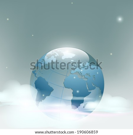 Planet Earth is covered by clouds - stock photo