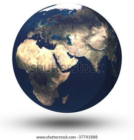 Planet earth isolated on white with shadow dropped - stock photo