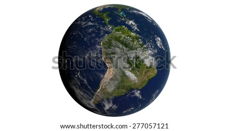 Planet Earth Isolated - South American Continent - 3D Globe - Maps on this image provided by NASA - stock photo