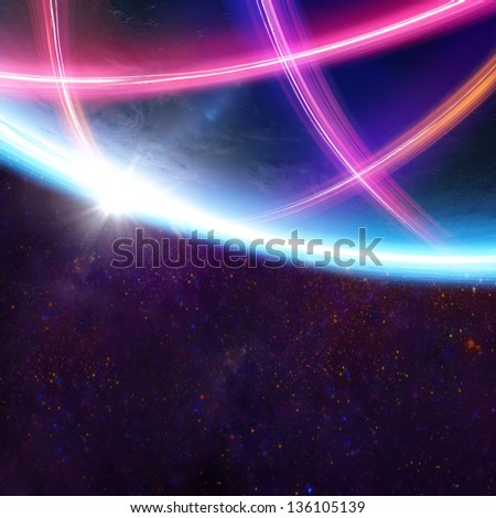 Planet Earth light beams focus on Europe / Elements of this image furnished by NASA - stock photo