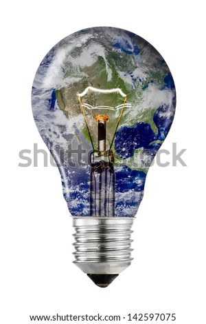 Planet Earth Light Bulb with Clipping Path (Elements of this image furnished by NASA) - stock photo