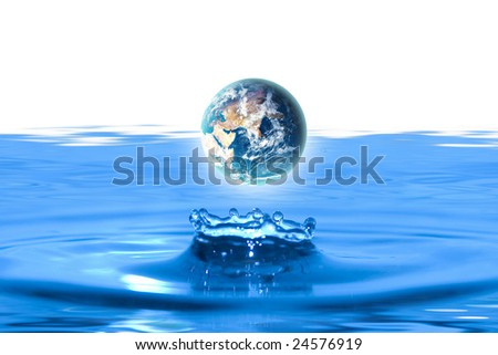 planet earth like water drop - stock photo