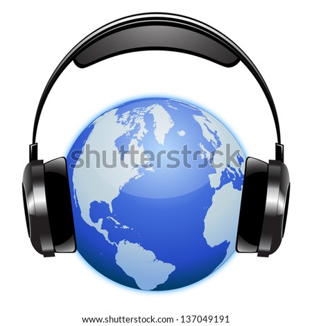 Planet earth listening music with a radio headset - stock photo