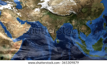 Planet Earth Map & Clouds Composition - India / China / Indonesia (Elements of this image furnished by NASA) - stock photo