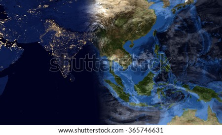 Planet Earth Map - Night/Day Morning Composition - Asia (Elements of this image furnished by NASA) - stock photo