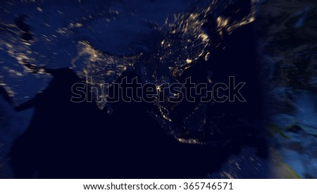 Planet Earth Map Zoom Effect into Thailand (Elements of this image furnished by NASA) - stock photo