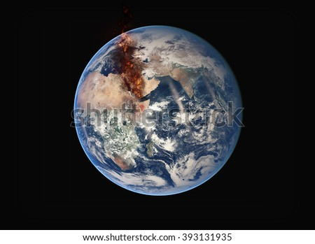 Planet Earth Mediterranean War - Massive Fire Chaos (Elements of this image furnished by NASA)