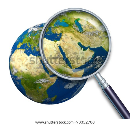 Planet earth middle east crisis with political issues of the persian gulf and crude oil with countries as Iran Israel Egypt Libya Kuwait Syria Saudi Arabia focused with a magnifying glass on white. - stock photo