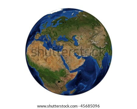 Planet Earth - Middle East, data source: NASA - stock photo