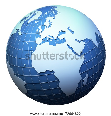 Planet earth model isolated on white - Africa and Europe view (3D mesh derived from http://visibleearth.nasa.gov) - stock photo