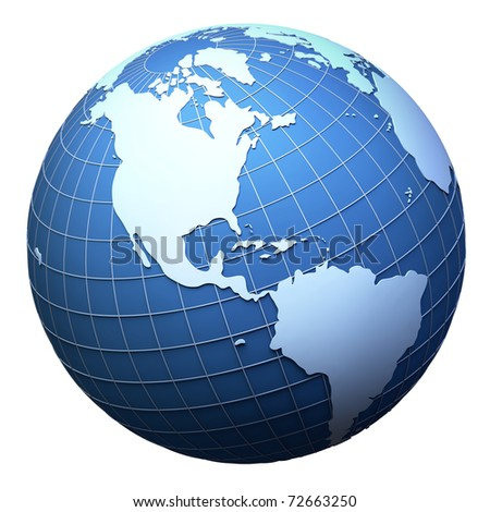 Planet earth model isolated on white - America view (3D mesh derived from http://visibleearth.nasa.gov) - stock photo