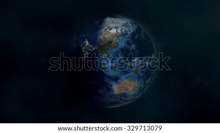 Planet Earth Morning 3D. Elements of this image furnished by NASA.