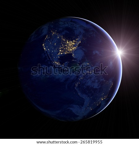 Planet Earth. Night in North America. sunrise. Elements of this image furnished by NASA - stock photo