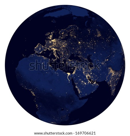 Planet earth night lights. Europe, Africa and Asia. 3D render.  Elements of this image furnished by NASA. - stock photo