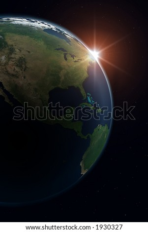 Planet Earth. North America. Background is full with stars (in case you don't see on thumbnail). - stock photo