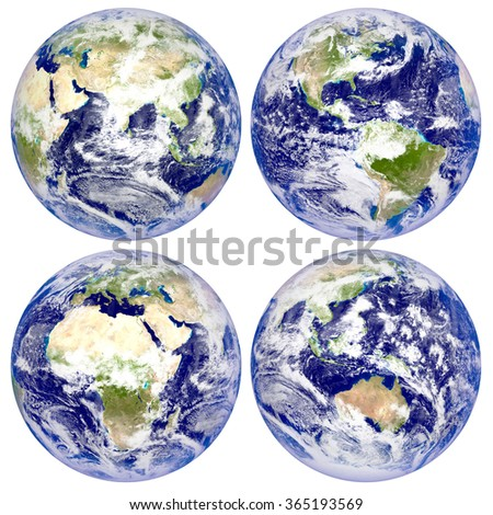 Planet Earth, North and South America, Eurasia, Africa, Australia - stock photo