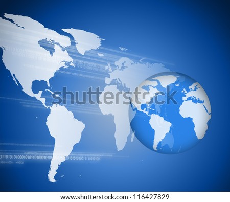 Planet earth on blue and white digital world map and binary code background
