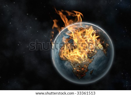 Planet Earth on fire viewed from space - stock photo