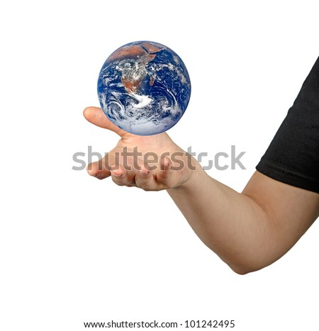 Planet earth on palms.Elements of this image furnished by NASA