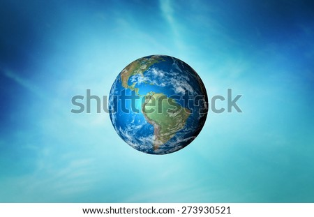 planet earth on sky background  - Elements of this image furnished by NASA. - stock photo