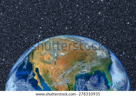 planet earth on space with graphic on star ,Elements of this image furnished by NASA - stock photo