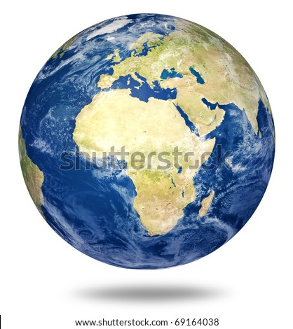 Planet earth on white - Africa and European view (3d source maps- http://visibleearth.nasa.gov/) - stock photo