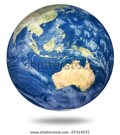 Planet earth on white - Australia and Asian view (3d source maps- http://visibleearth.nasa.gov/) - stock photo