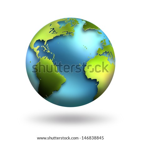 Planet Earth on white background - stock photo