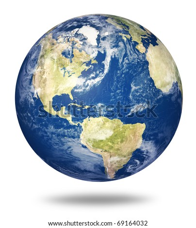Planet earth on white background - America view (3d source maps- http://visibleearth.nasa.gov/) - stock photo