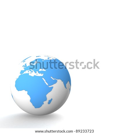 Planet earth on white background. Computer generation