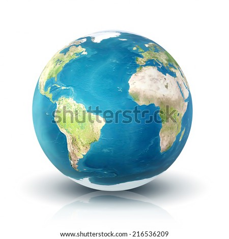 Planet earth on white background (Elements of this image furnished by NASA)