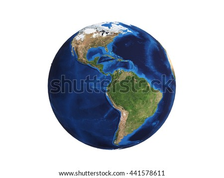 Planet Earth on white 3d illustration